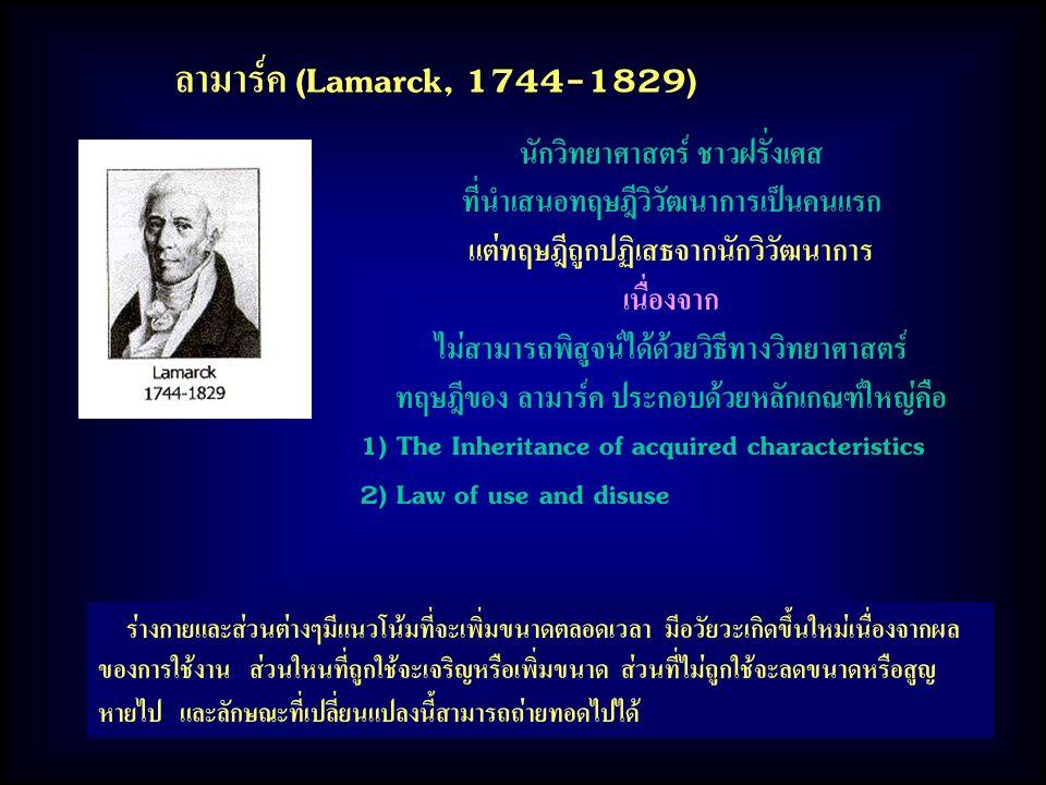 ลามาร์ค (Lamarck, 1744-1829) นักวิทยาศาสตร์ ชาวฝรั่งเศส
