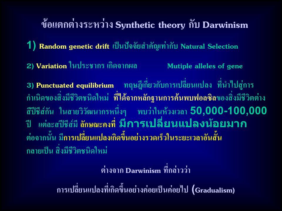 ข้อแตกต่างระหว่าง Synthetic theory กับ Darwinism
