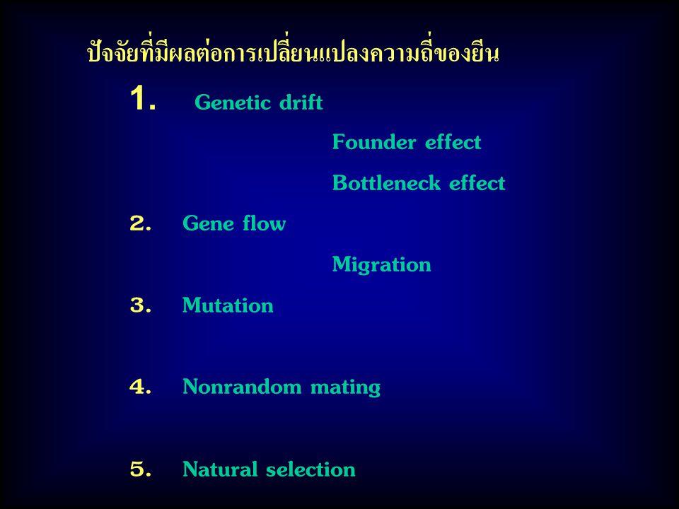 ปัจจัยที่มีผลต่อการเปลี่ยนแปลงความถี่ของยีน