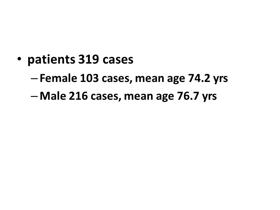 patients 319 cases Female 103 cases, mean age 74.2 yrs
