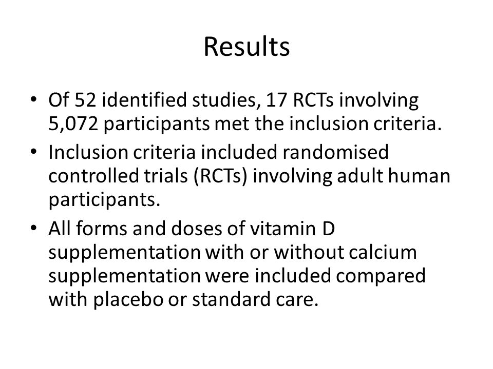 Results Of 52 identified studies, 17 RCTs involving 5,072 participants met the inclusion criteria.