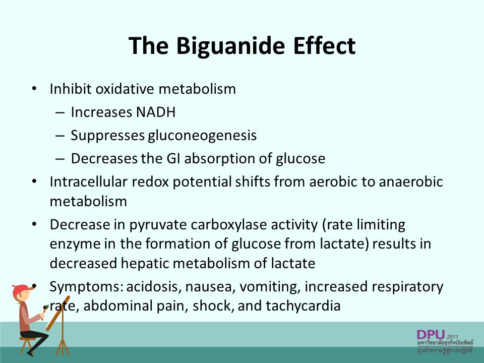 The Biguanide Effect Inhibit oxidative metabolism Increases NADH