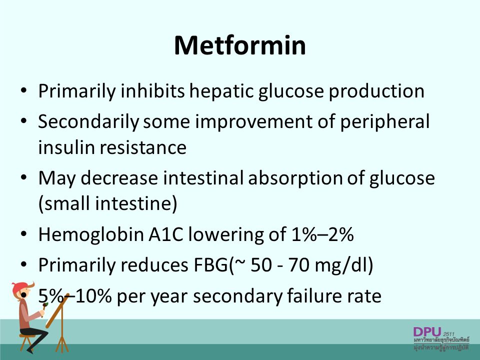 Metformin Primarily inhibits hepatic glucose production