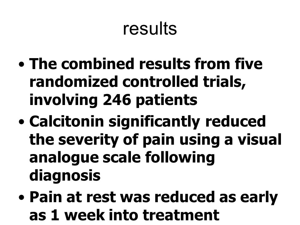 results The combined results from five randomized controlled trials, involving 246 patients.