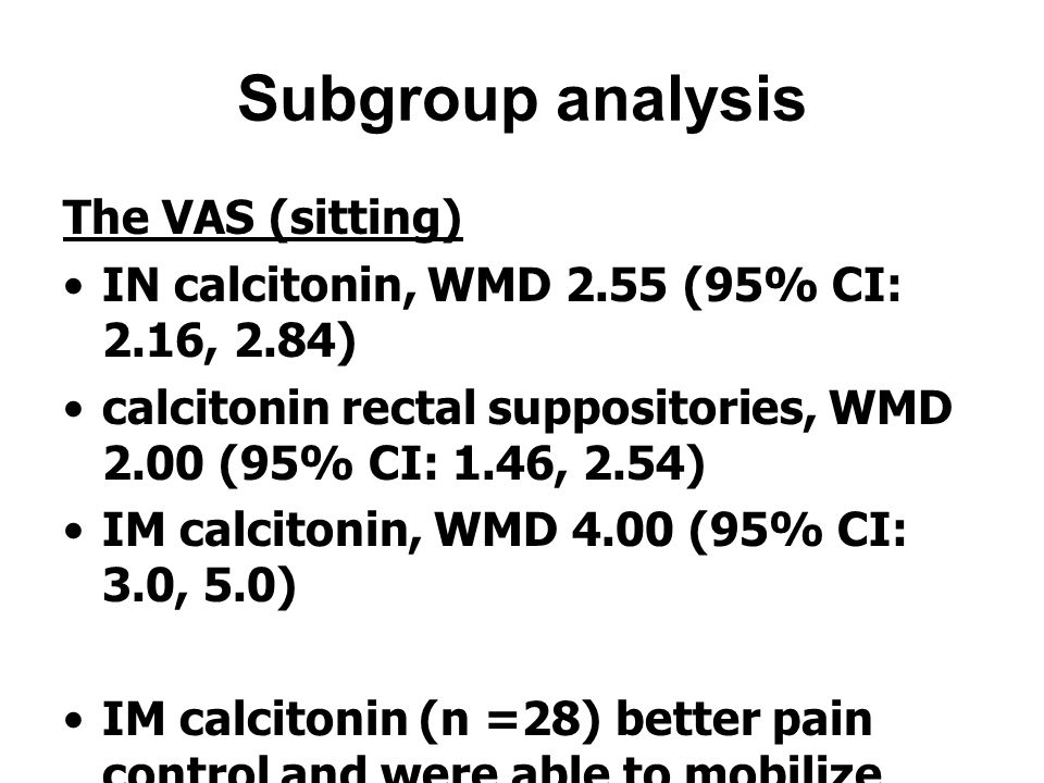 Subgroup analysis The VAS (sitting)