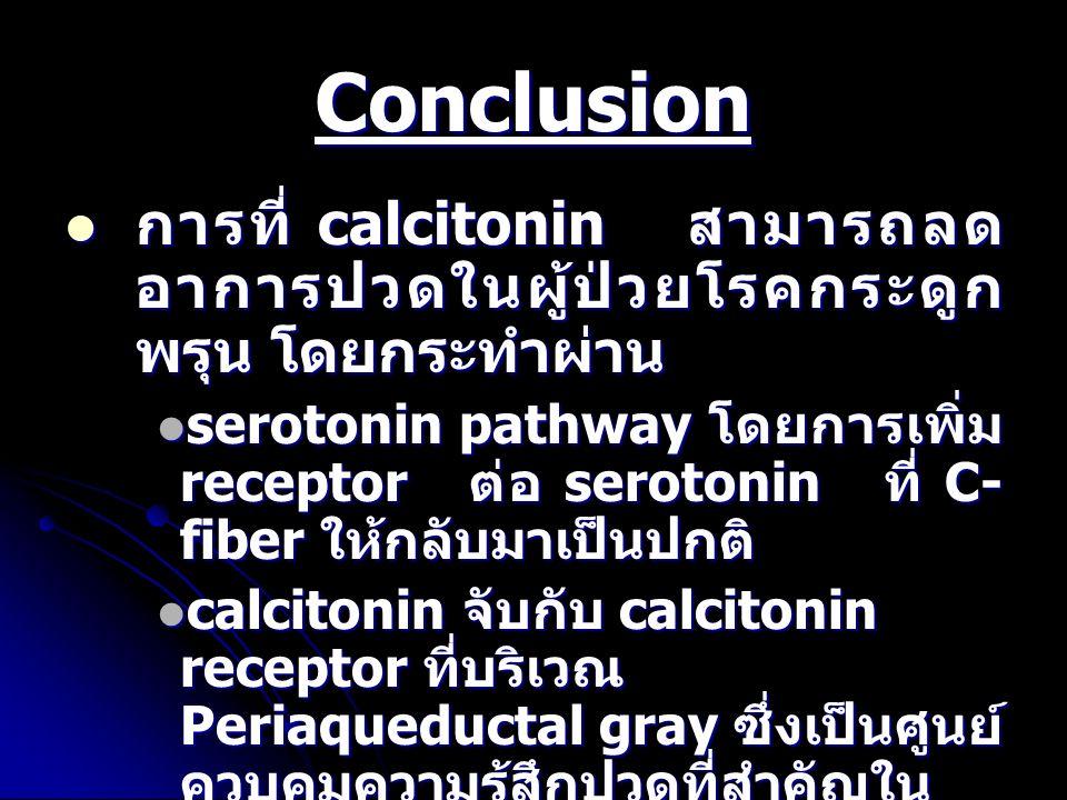 Conclusion การที่ calcitonin สามารถลดอาการปวดในผู้ป่วยโรคกระดูกพรุน โดยกระทำผ่าน.