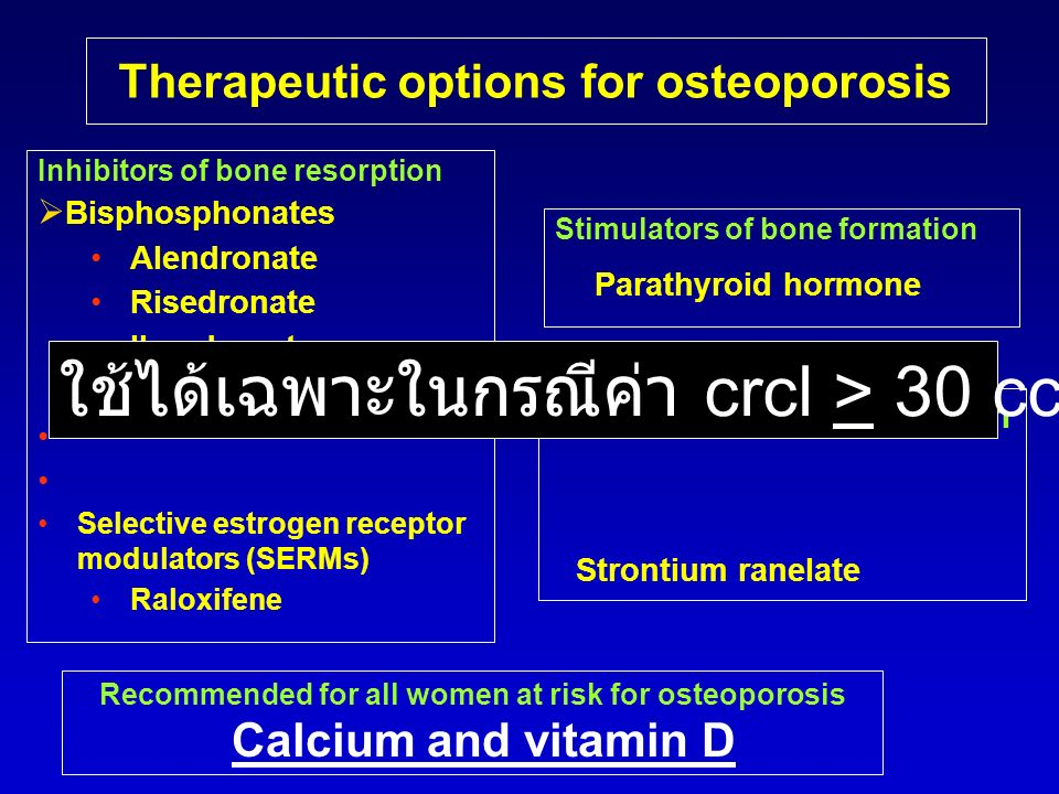 Therapeutic options for osteoporosis