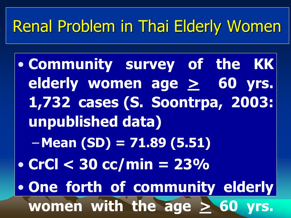 Renal Problem in Thai Elderly Women