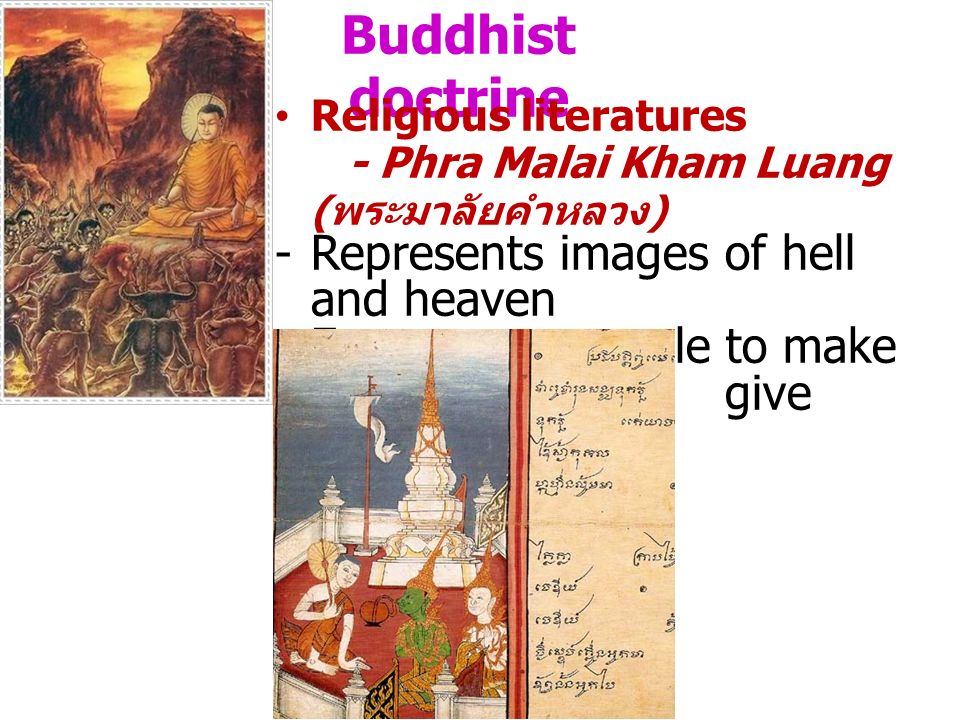 Buddhist doctrine Represents images of hell and heaven