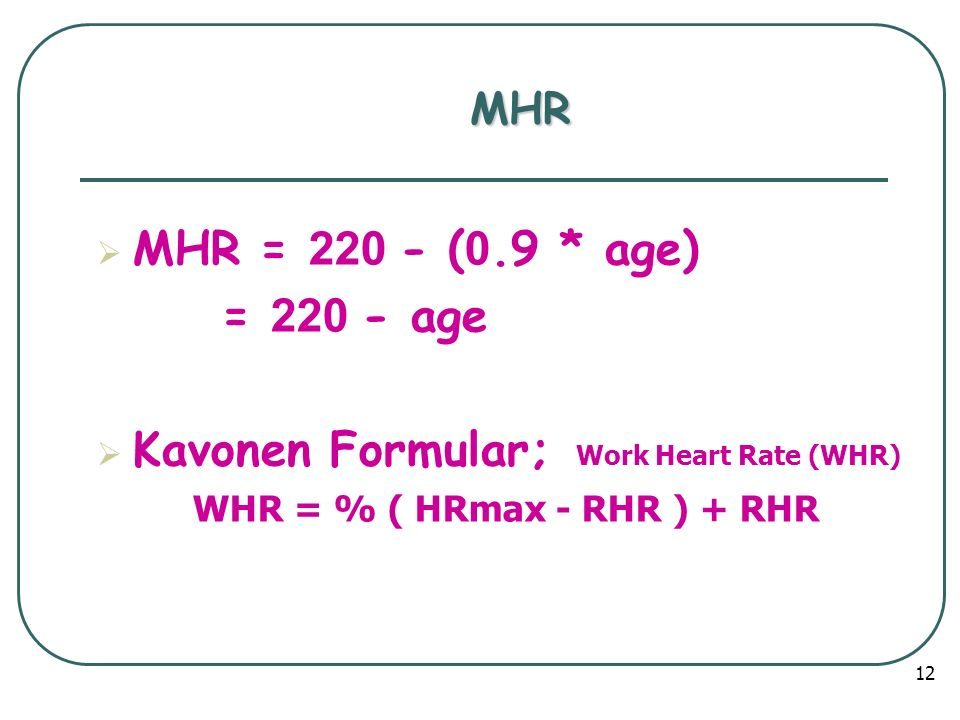 Kavonen Formular; Work Heart Rate (WHR)