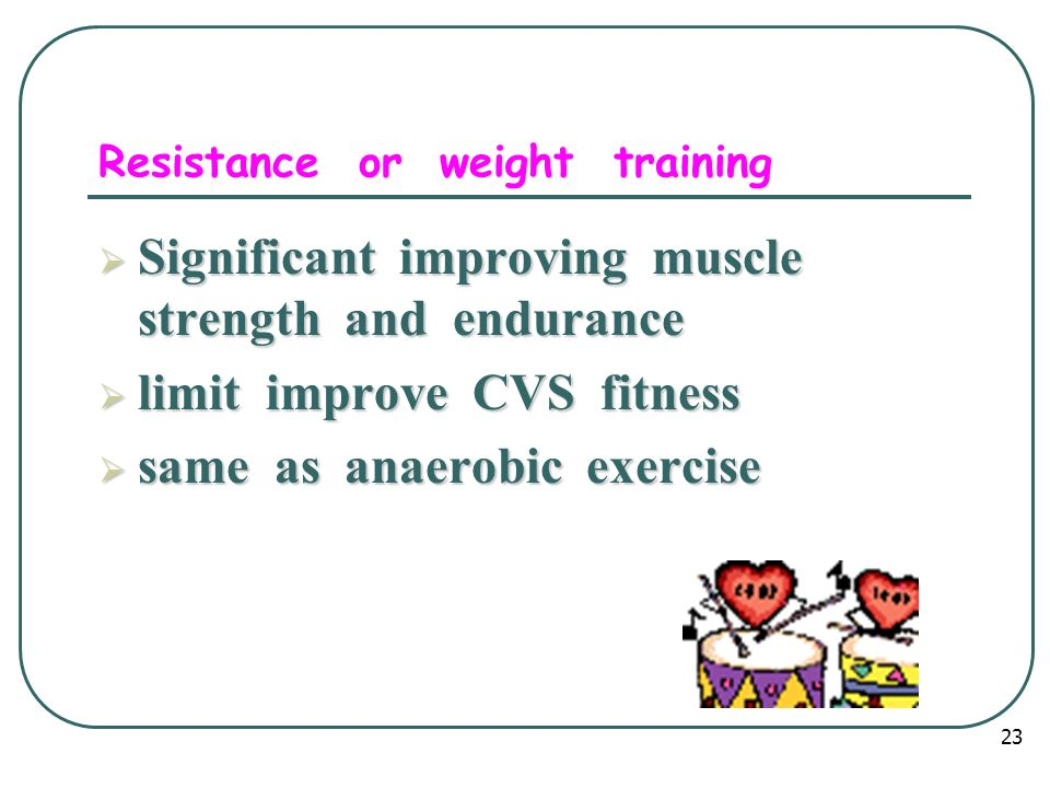 Resistance or weight training