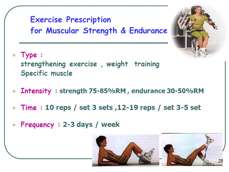 Exercise Prescription for Muscular Strength & Endurance