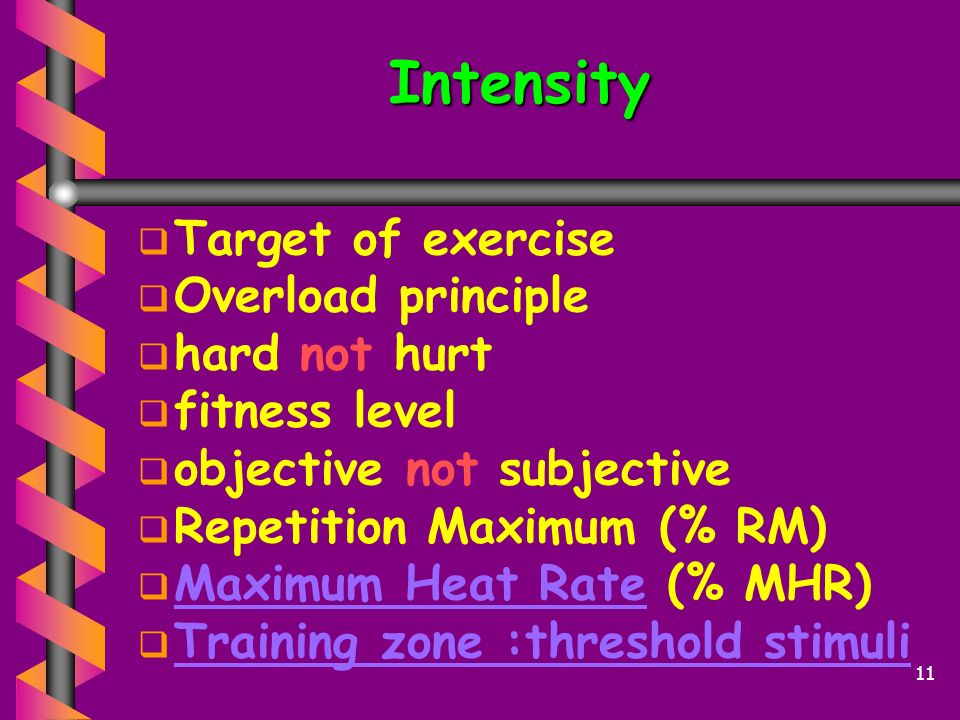 Intensity Target of exercise Overload principle hard not hurt
