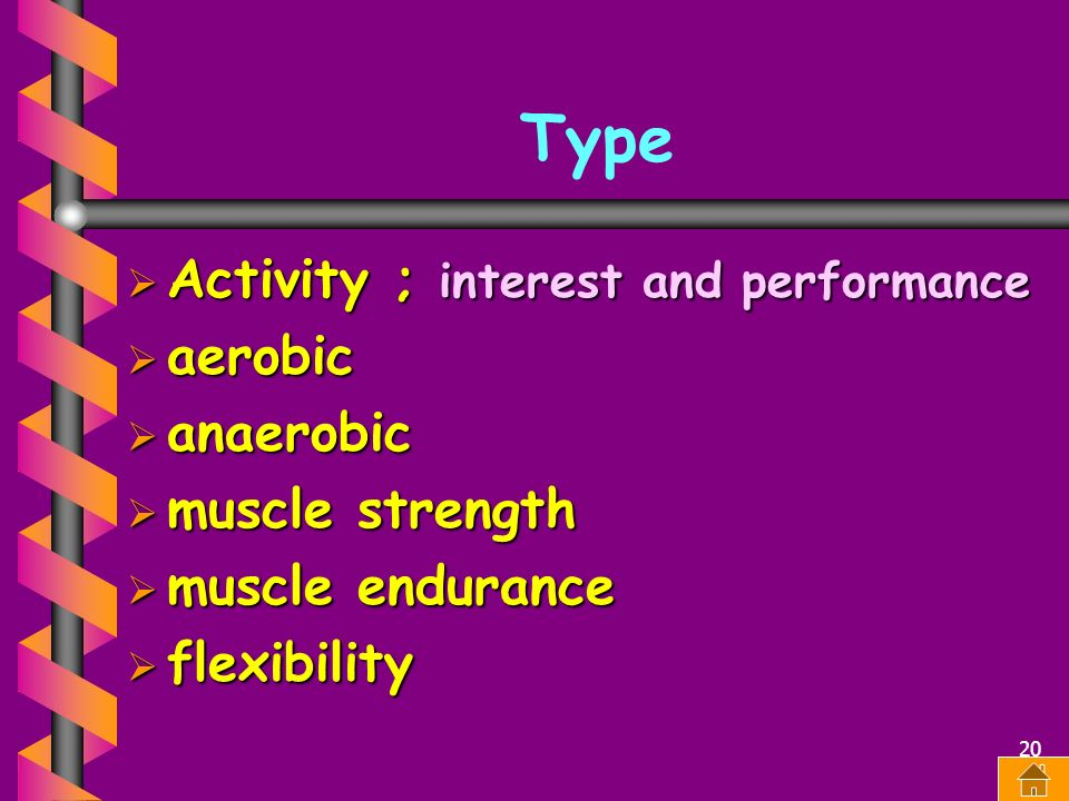 Type Activity ; interest and performance aerobic anaerobic