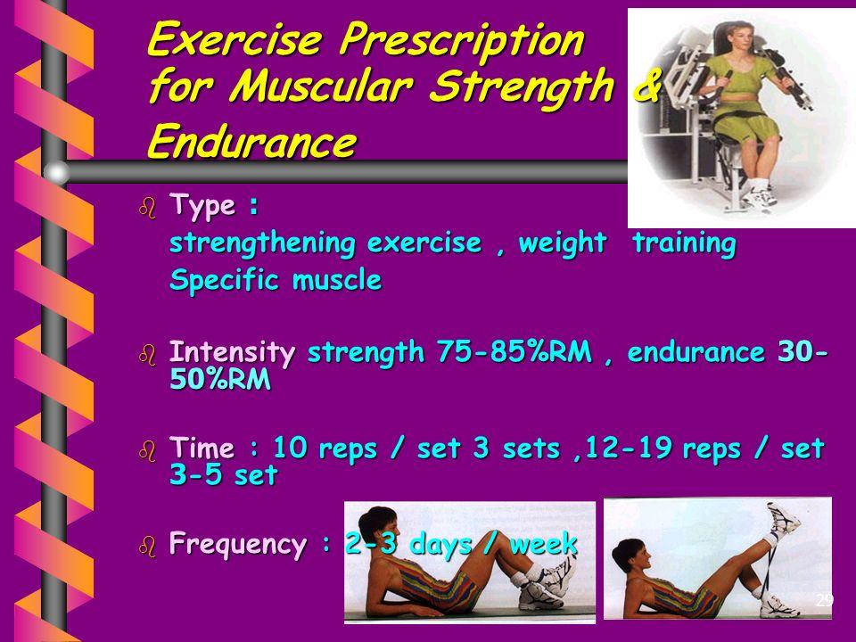 Exercise Prescription for Muscular Strength & Endurance