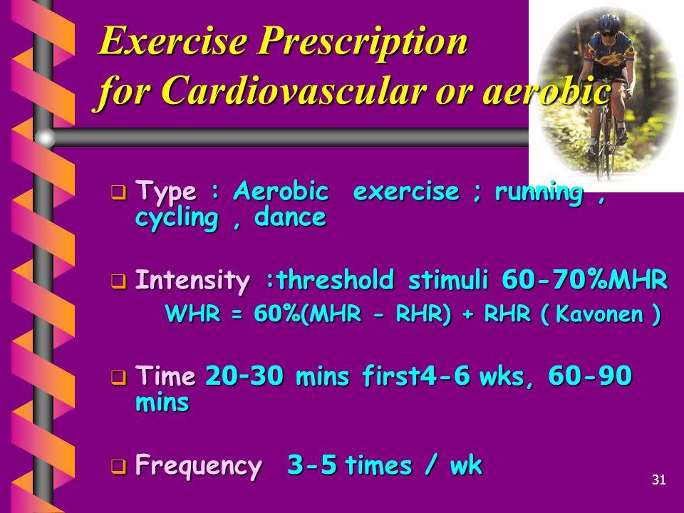 Exercise Prescription for Cardiovascular or aerobic