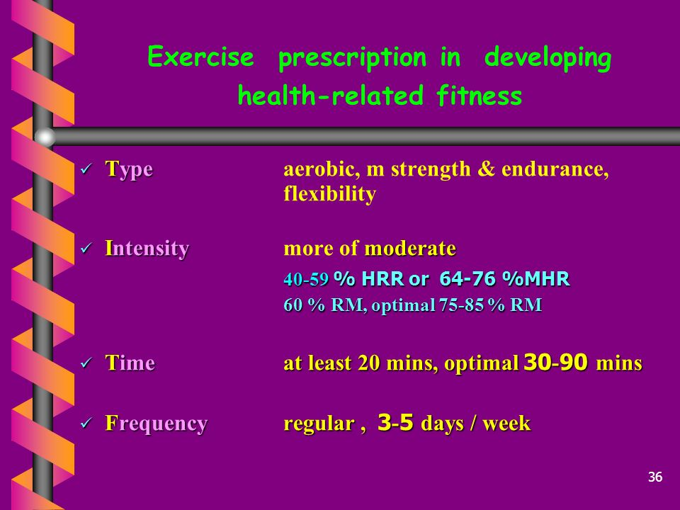 Exercise prescription in developing health-related fitness