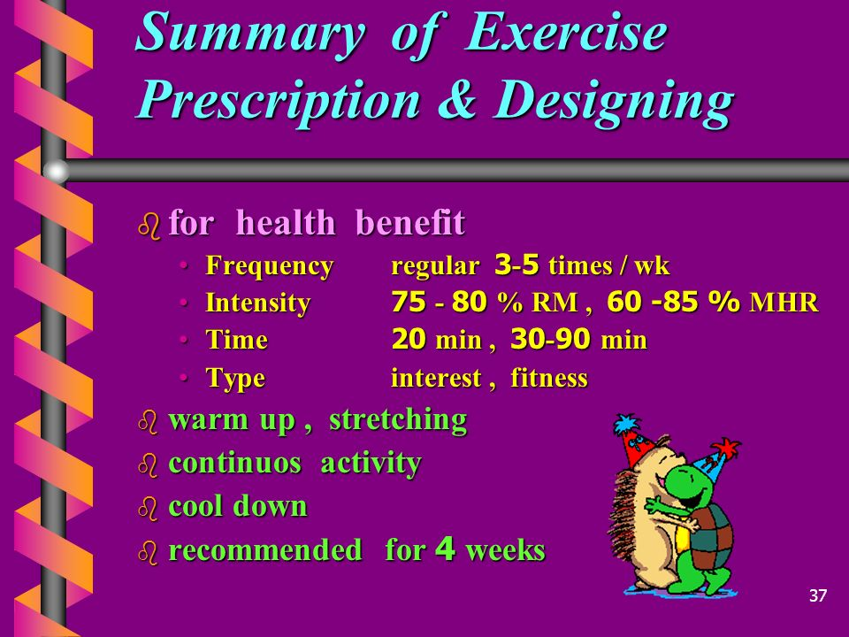Summary of Exercise Prescription & Designing