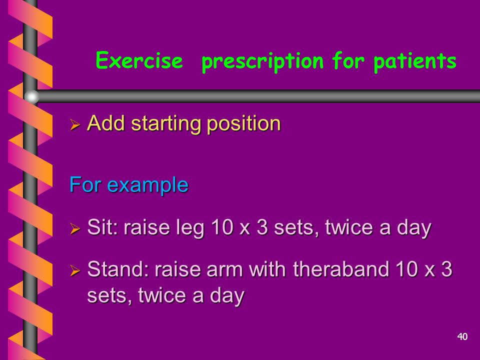 Exercise prescription for patients