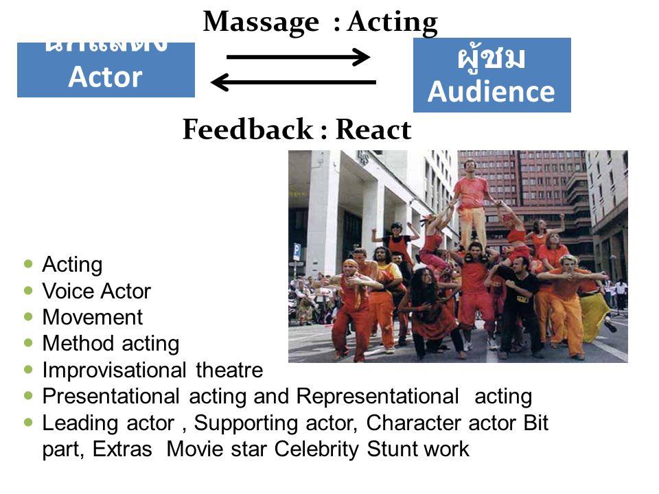 นักแสดง Actor ผู้ชม Audience