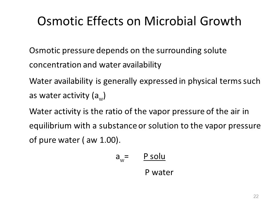 Osmotic Effects on Microbial Growth