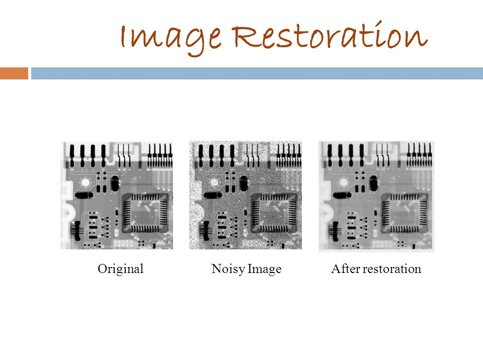 Image Restoration Original Noisy Image After restoration