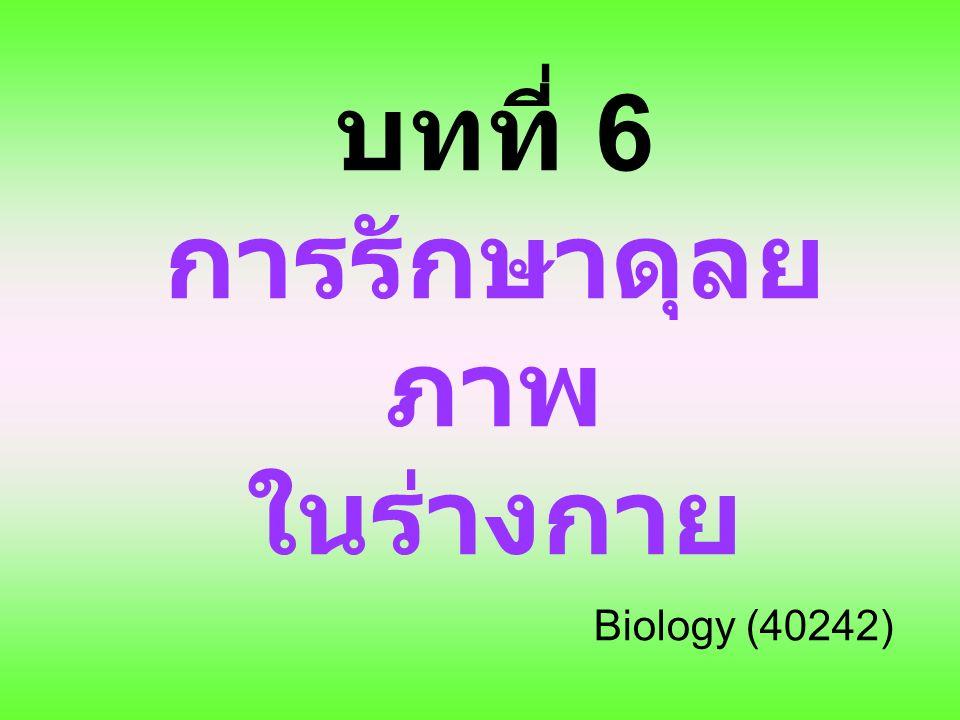 บทที่ 6 การรักษาดุลยภาพ ในร่างกาย