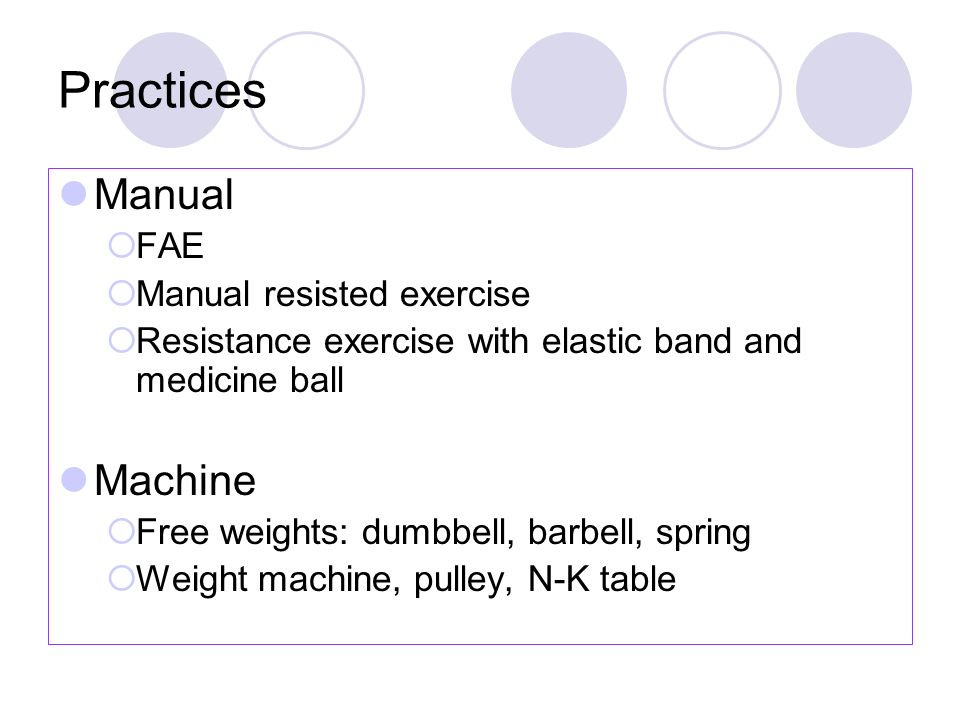 Practices Manual Machine FAE Manual resisted exercise