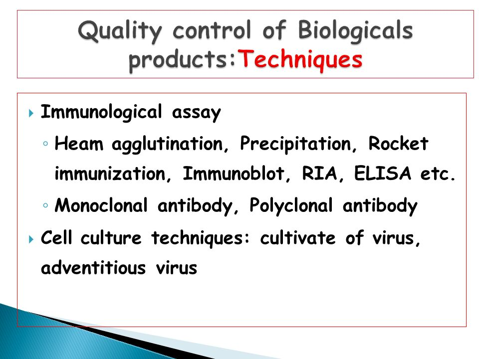 Quality control of Biologicals products:Techniques