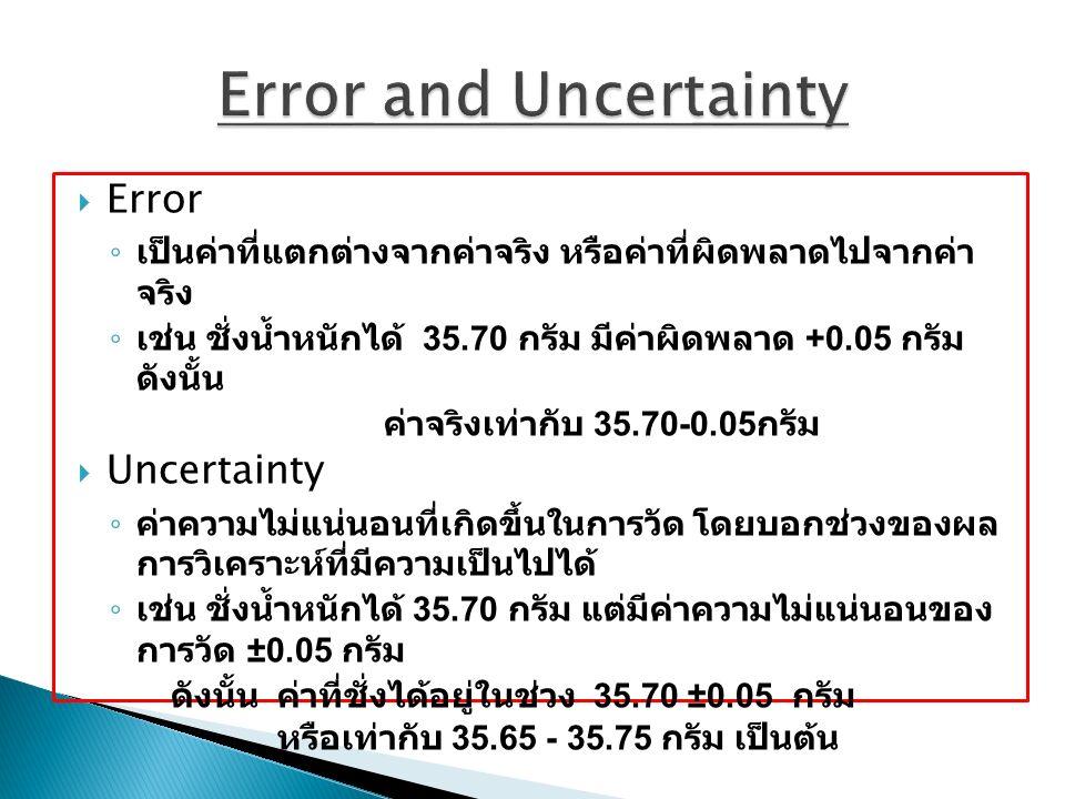 Error and Uncertainty Error Uncertainty