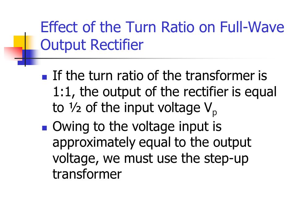 Effect of the Turn Ratio on Full-Wave Output Rectifier