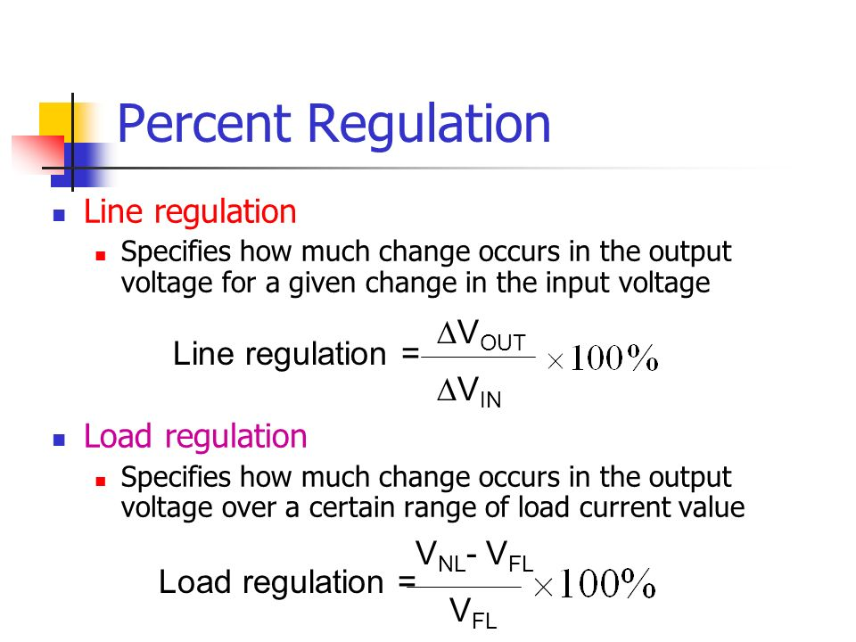 Percent Regulation Line regulation Load regulation ∆VOUT