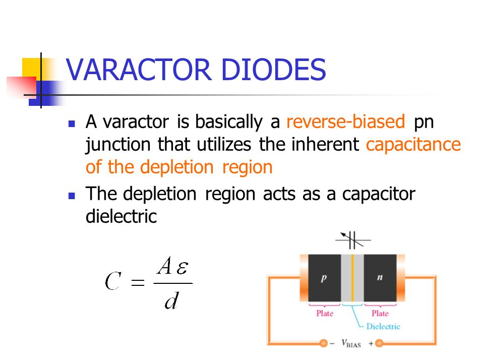 VARACTOR DIODES A varactor is basically a reverse-biased pn junction that utilizes the inherent capacitance of the depletion region.