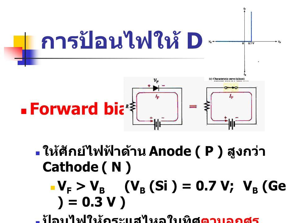 การป้อนไฟให้ Diode Forward bias: