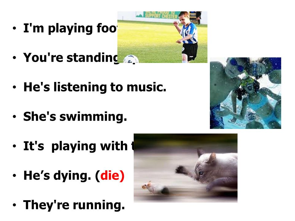 I m playing football. You re standing up. He s listening to music. She s swimming. It s playing with the ball.