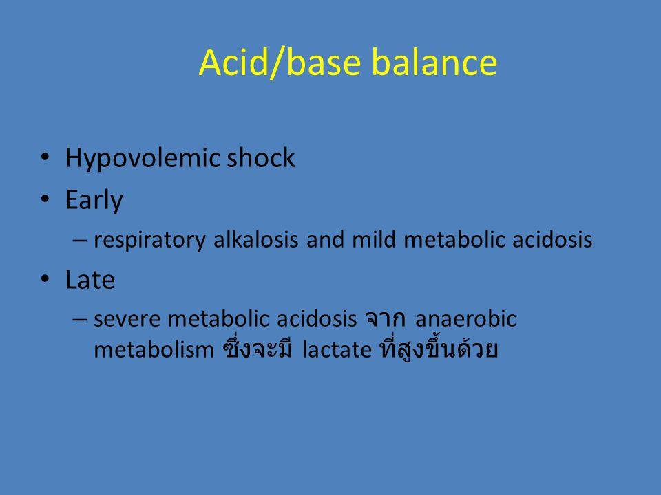 Acid/base balance Hypovolemic shock Early Late