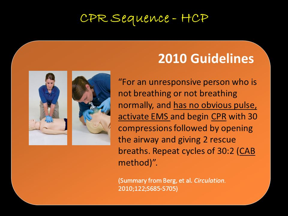 CPR Sequence - HCP 2010 Guidelines