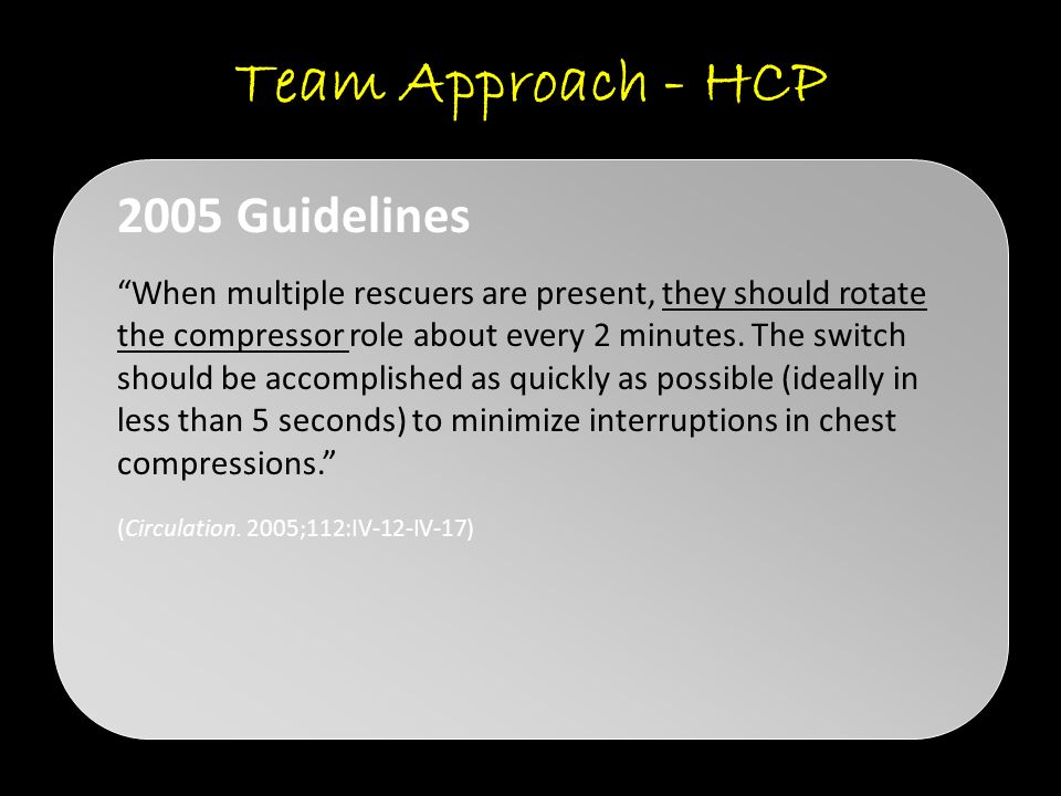Team Approach - HCP 2005 Guidelines