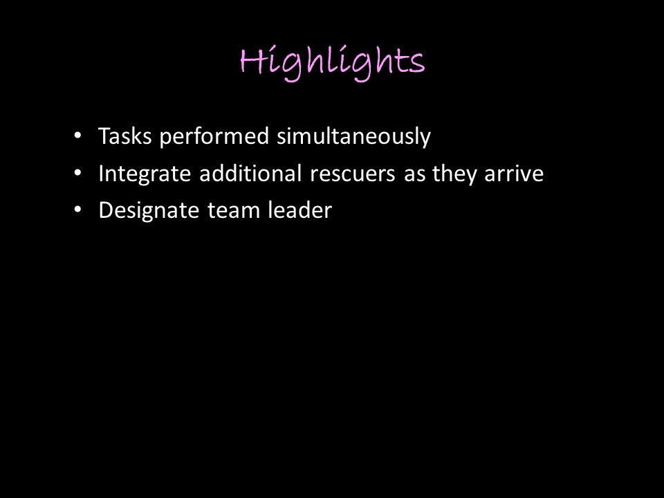 Highlights Tasks performed simultaneously