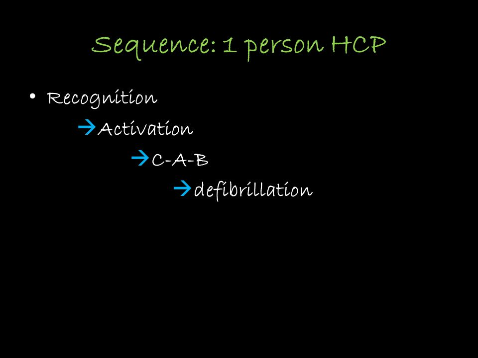 Sequence: 1 person HCP Recognition Activation C-A-B defibrillation
