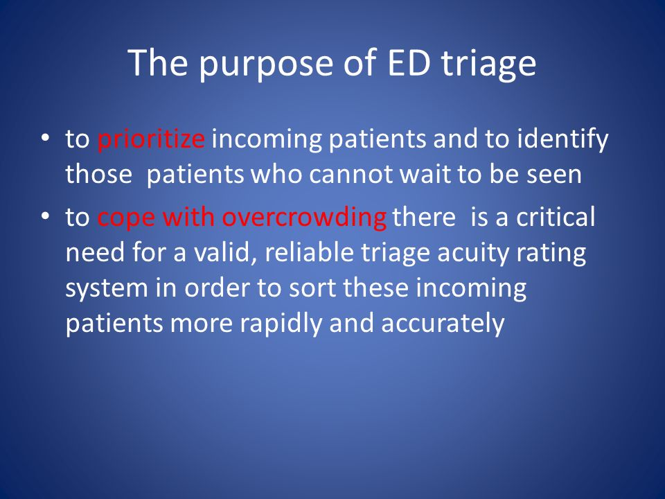 The purpose of ED triage