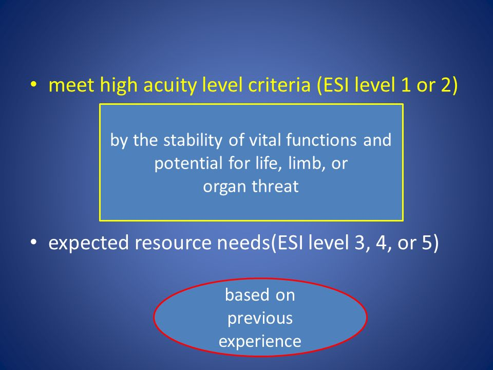 meet high acuity level criteria (ESI level 1 or 2)