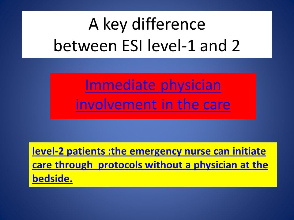 A key difference between ESI level-1 and 2