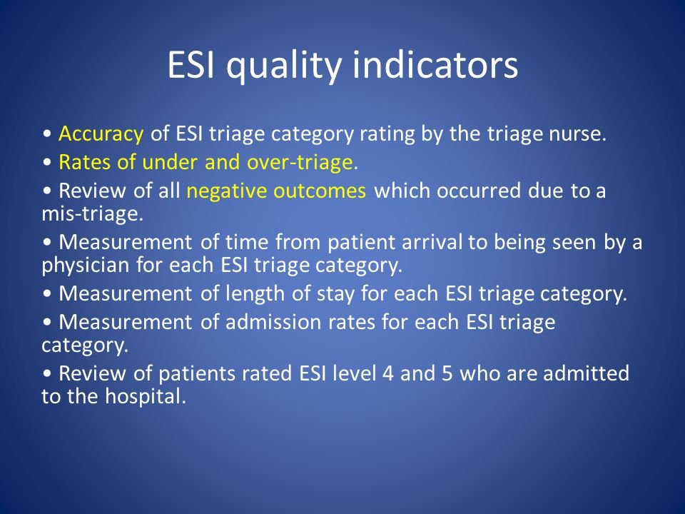 ESI quality indicators