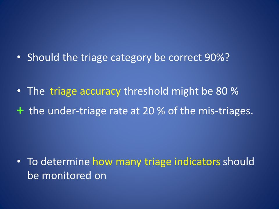 + the under-triage rate at 20 % of the mis-triages.