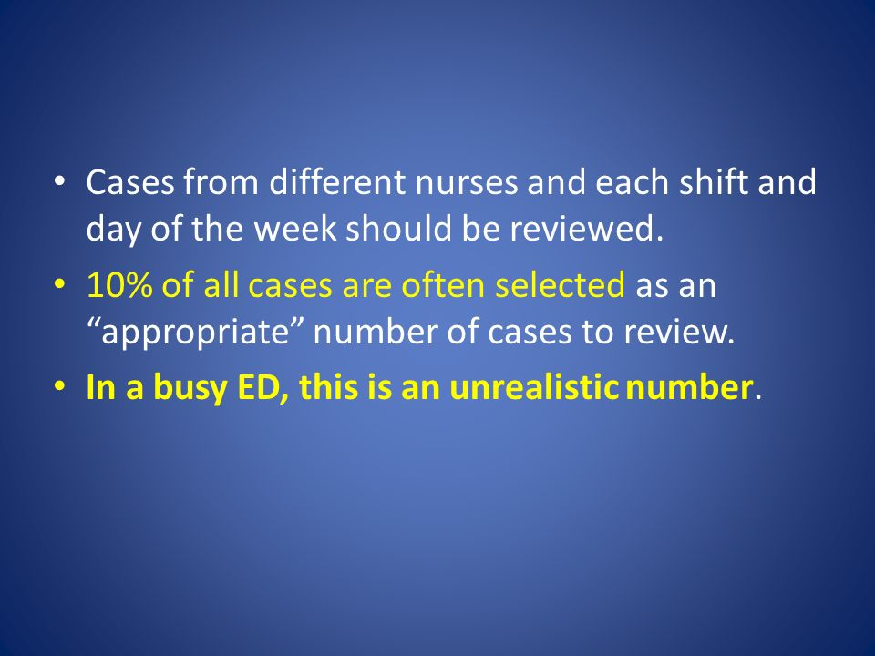 Cases from different nurses and each shift and day of the week should be reviewed.