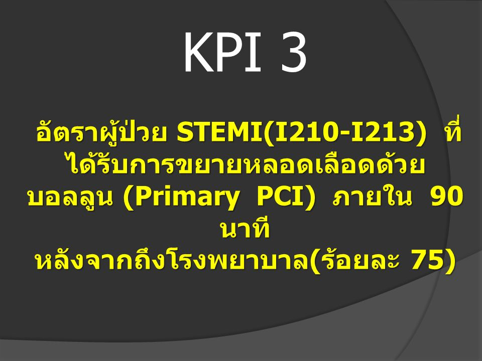 KPI 3 อัตราผู้ป่วย STEMI(I210-I213) ที่ได้รับการขยายหลอดเลือดด้วยบอลลูน (Primary PCI) ภายใน 90 นาที หลังจากถึงโรงพยาบาล(ร้อยละ 75)