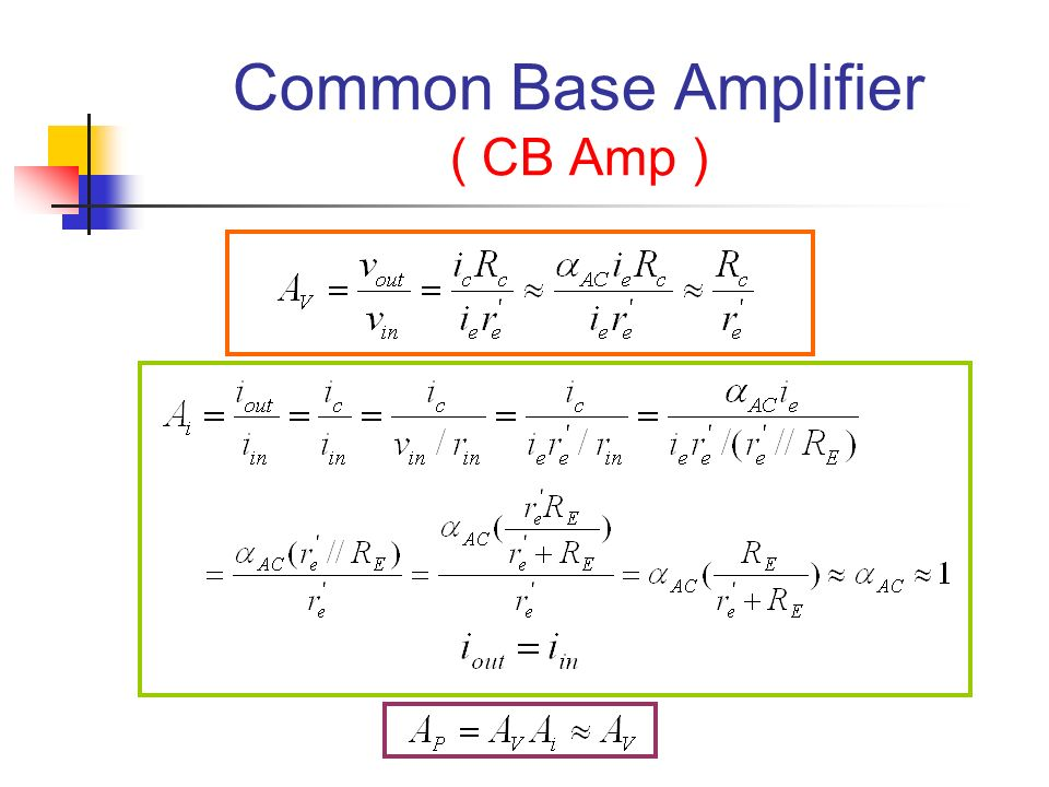 Common Base Amplifier ( CB Amp )