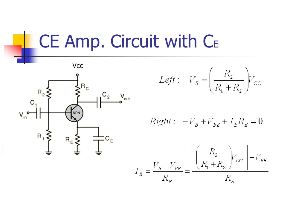 CE Amp. Circuit with CE Vcc