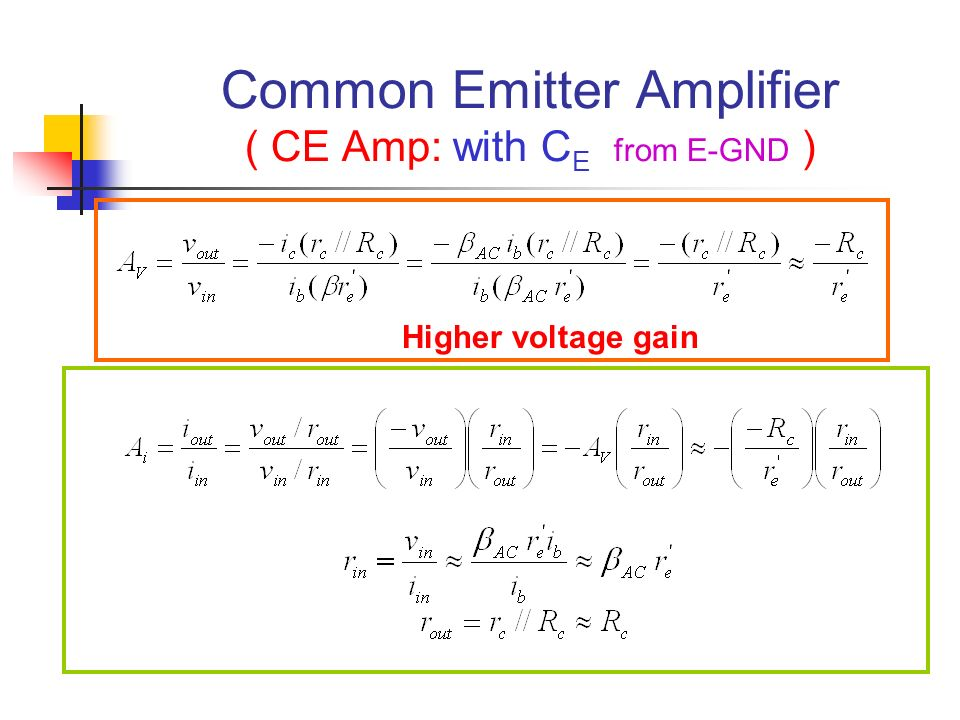 Common Emitter Amplifier ( CE Amp: with CE from E-GND )
